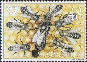 Bilde av krainerbier på et frimerke